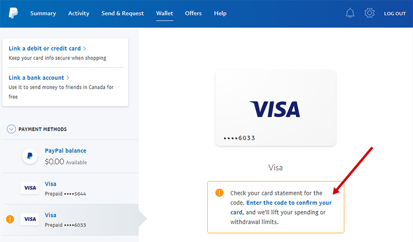free visa card to verify paypal